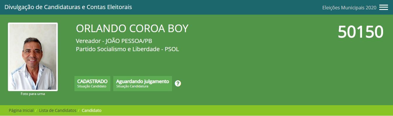 """coroa boy - Nomes bizarros e estranhos dessas eleições em João Pessoa: """"Galega do Alternativo, Vaquinha Elvira e Coroa Boy""""; veja mais"""
