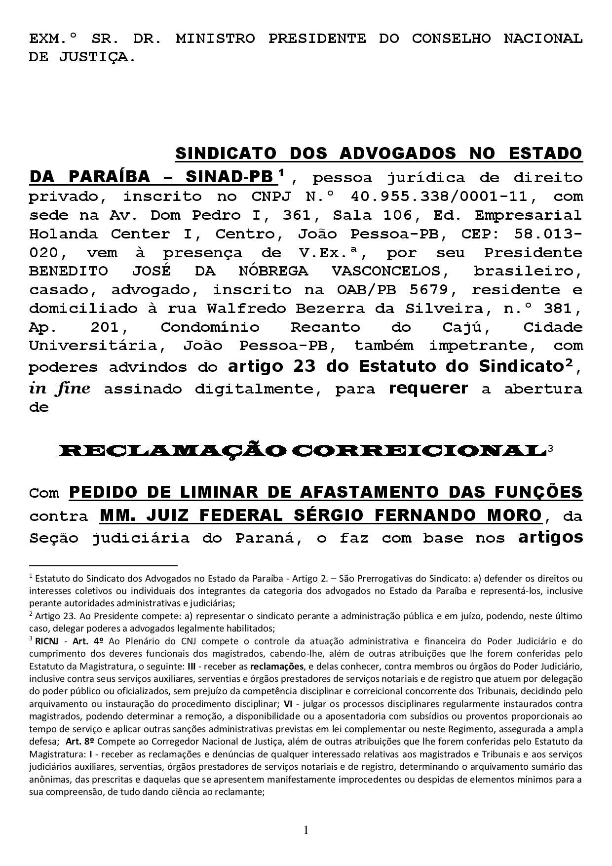 reclamacao correicional 1 page 001 - Sindicato dos Advogados da Paraíba pede no CNJ afastamento de Sergio Moro