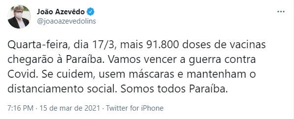screenshot_3 João Azevêdo anuncia chegada de mais 91,8 mil doses de vacinas contra covid-19 à Paraíba nesta quarta-feira