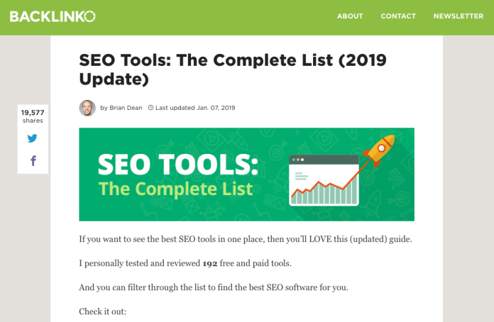 "screenshot of backlinko showing good example of evergreen content: ""SEO tools: The complete list"""