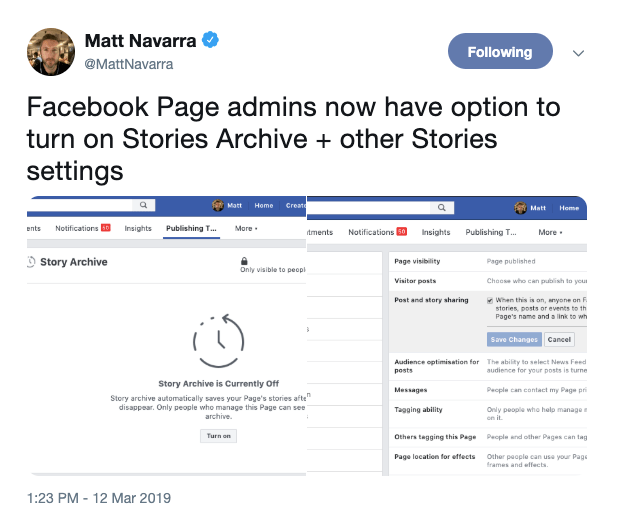Facebook page admins how have option to turn on Stories Archive + other Stories settings