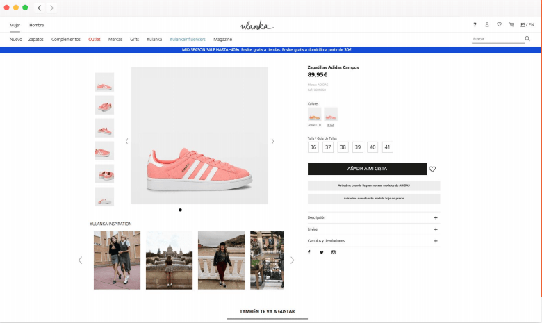 example of photoslurp on a product page
