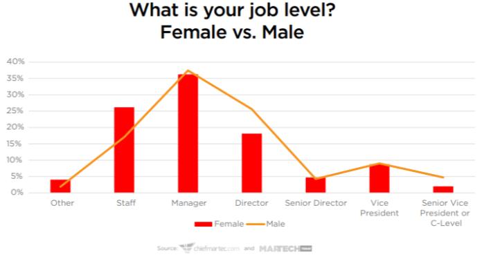job levels in martech for male vs female
