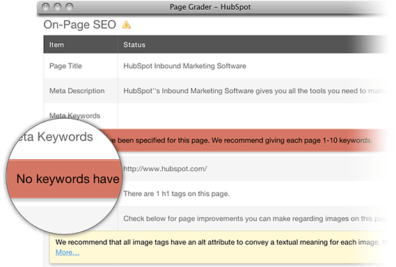 SEO analysis of quality and inbound links
