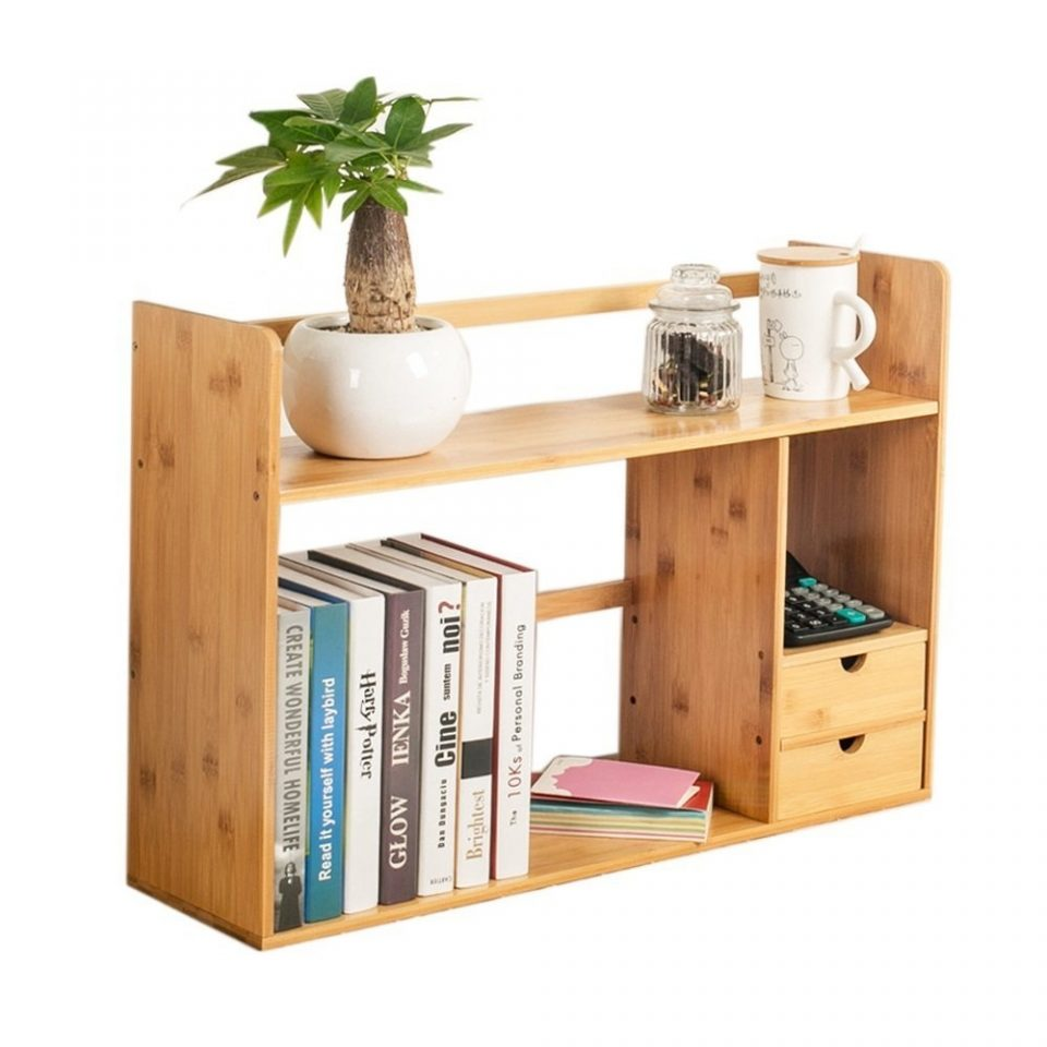Bamboo Small Bookshelf Office Desk Storage Shelves