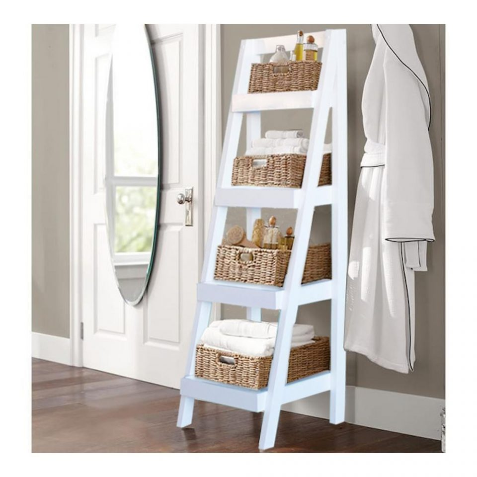 Bathroom Storage Ladder In White