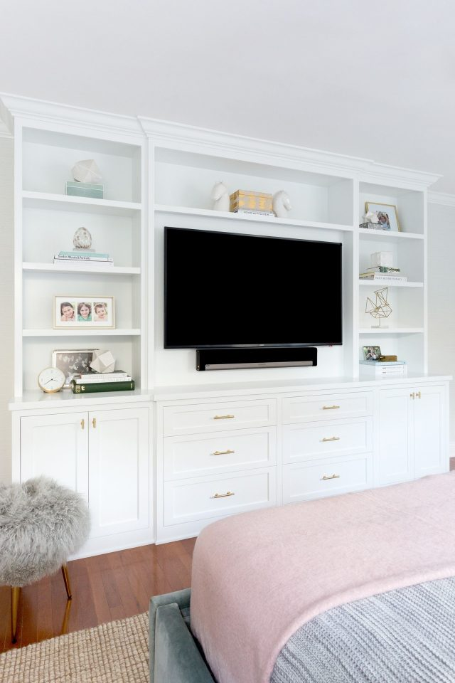 bedroom built ins with tv open shelves