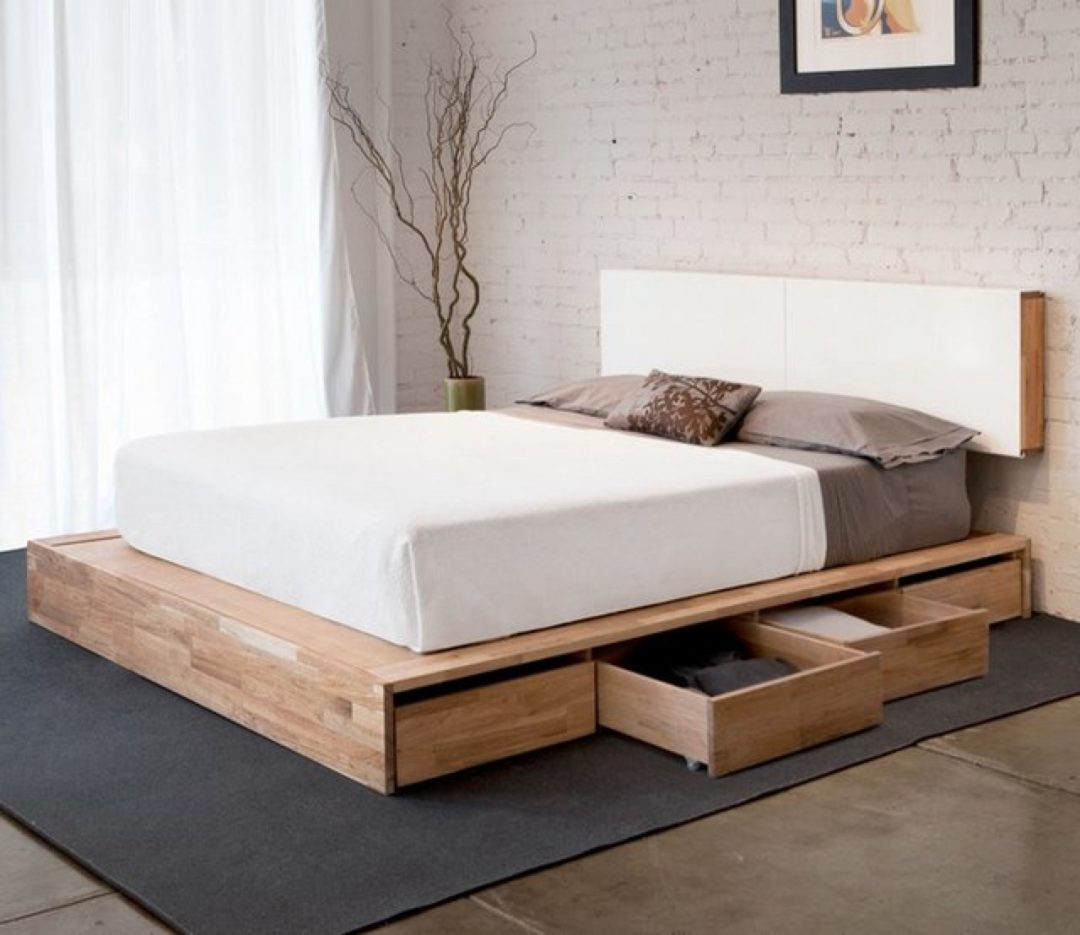 bedroom wood simple queen platform bed frame