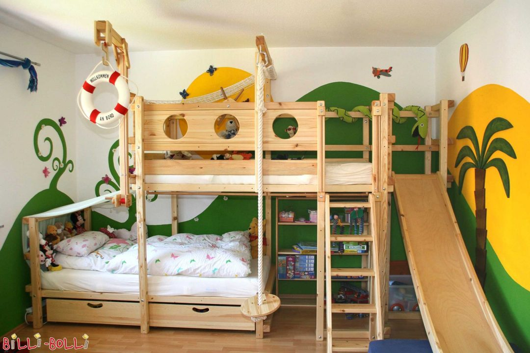 bunk bed laterally staggered with slide and swing