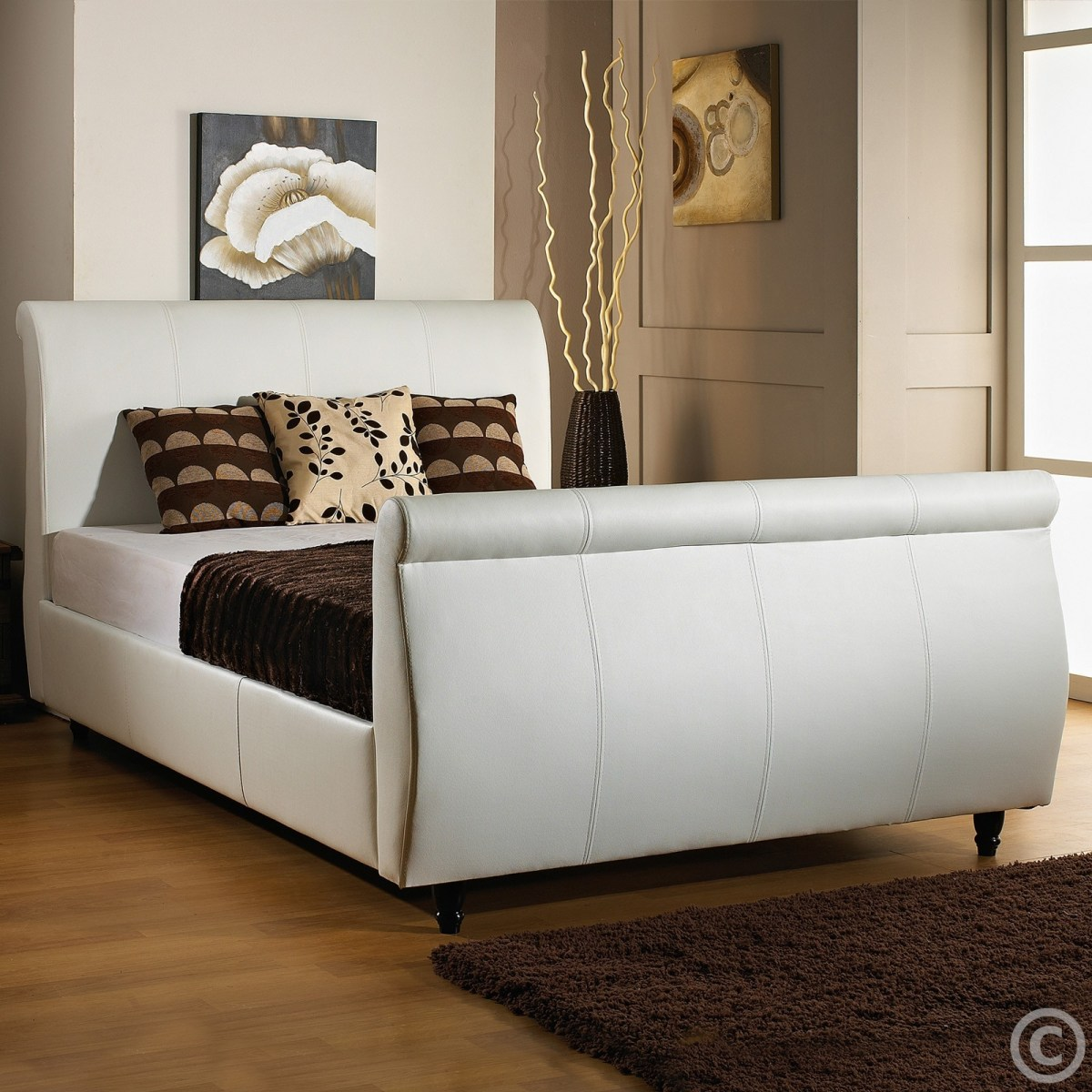 cbs letto faux leather sleigh bed