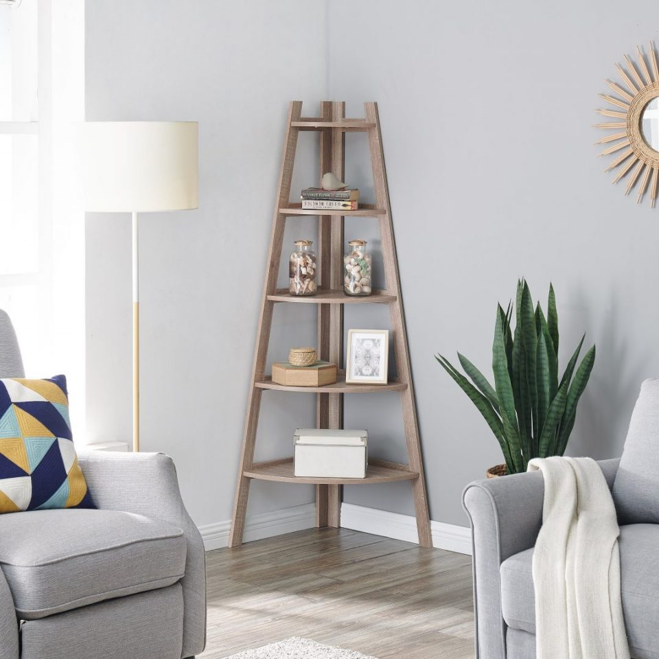 Corner Ladder Shelves Free Standing