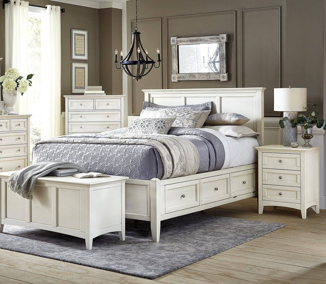cottage king storage bed in white linen