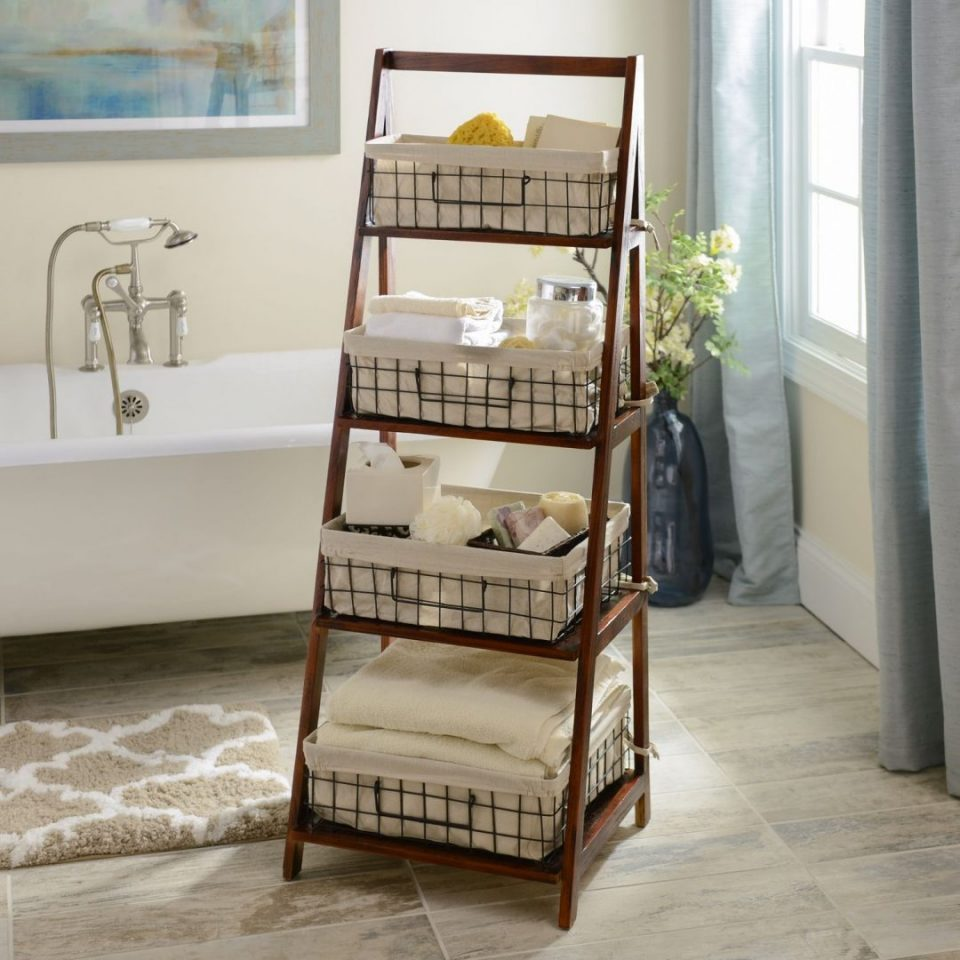 Ladder With Baskets For Bathroom