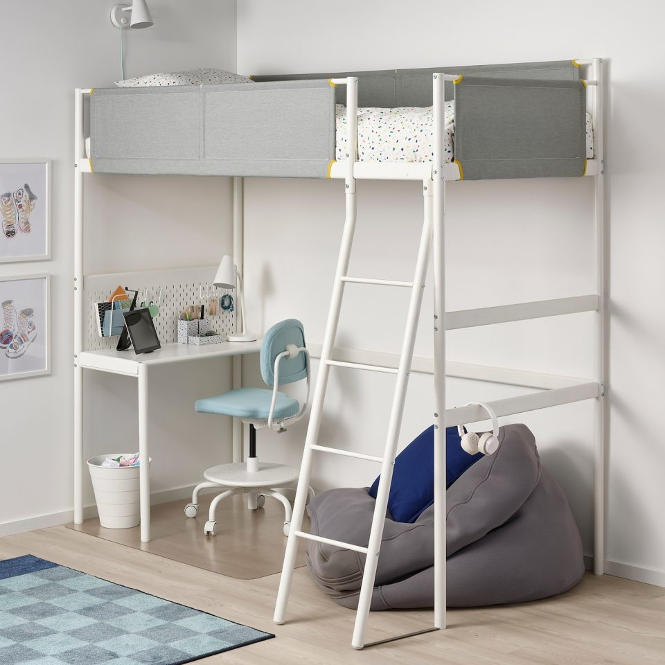 loft bed frame with desk top white light grey