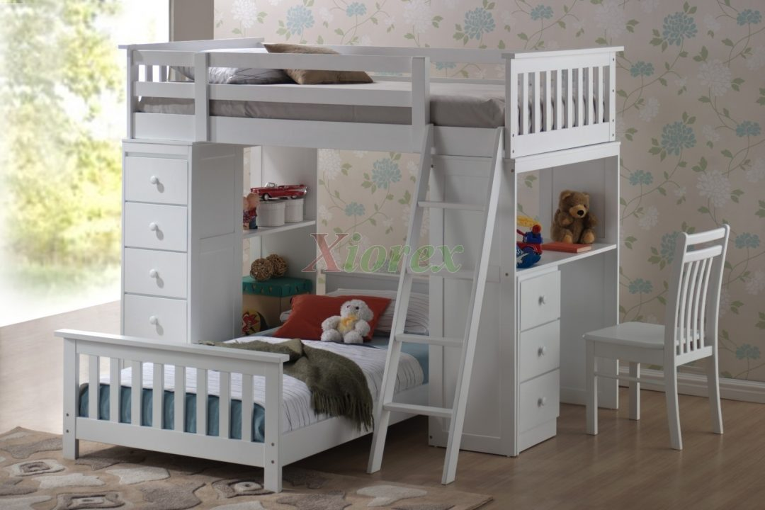 loft bunk beds for kids with storage desk
