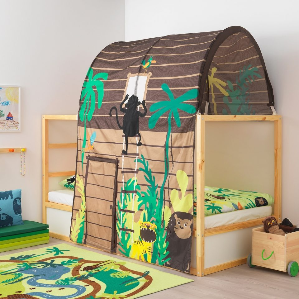 low bunk beds for toddlers with tent