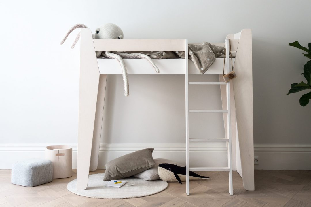 minimalist loft bed in childrens room