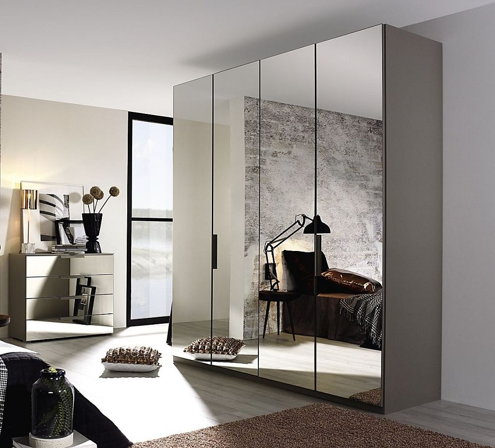 mirror wardrobe in silk grey
