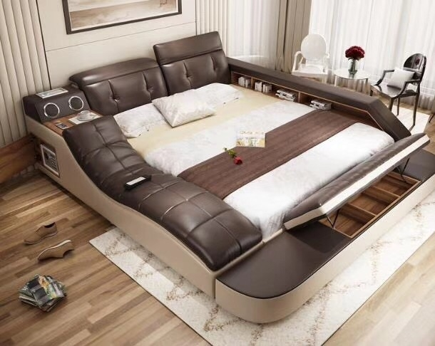 real genuine leather bed with massage double beds