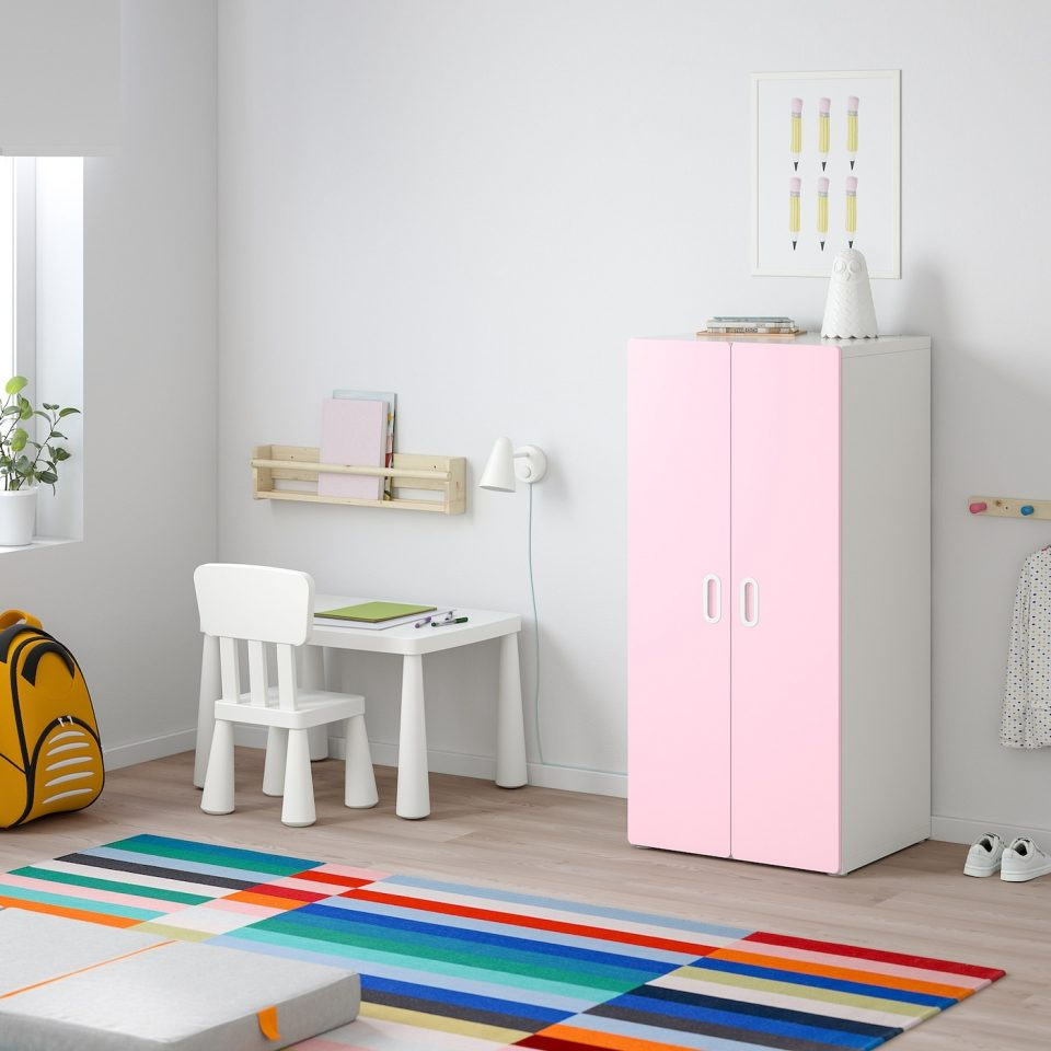 small wardrobe white pink for kids