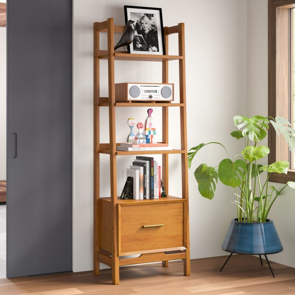 Solid Wood Ladder Bookcase