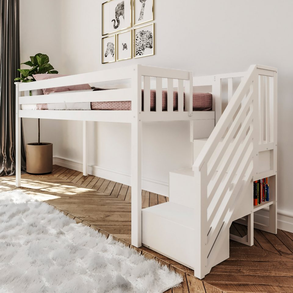 twin low loft bed with staircase