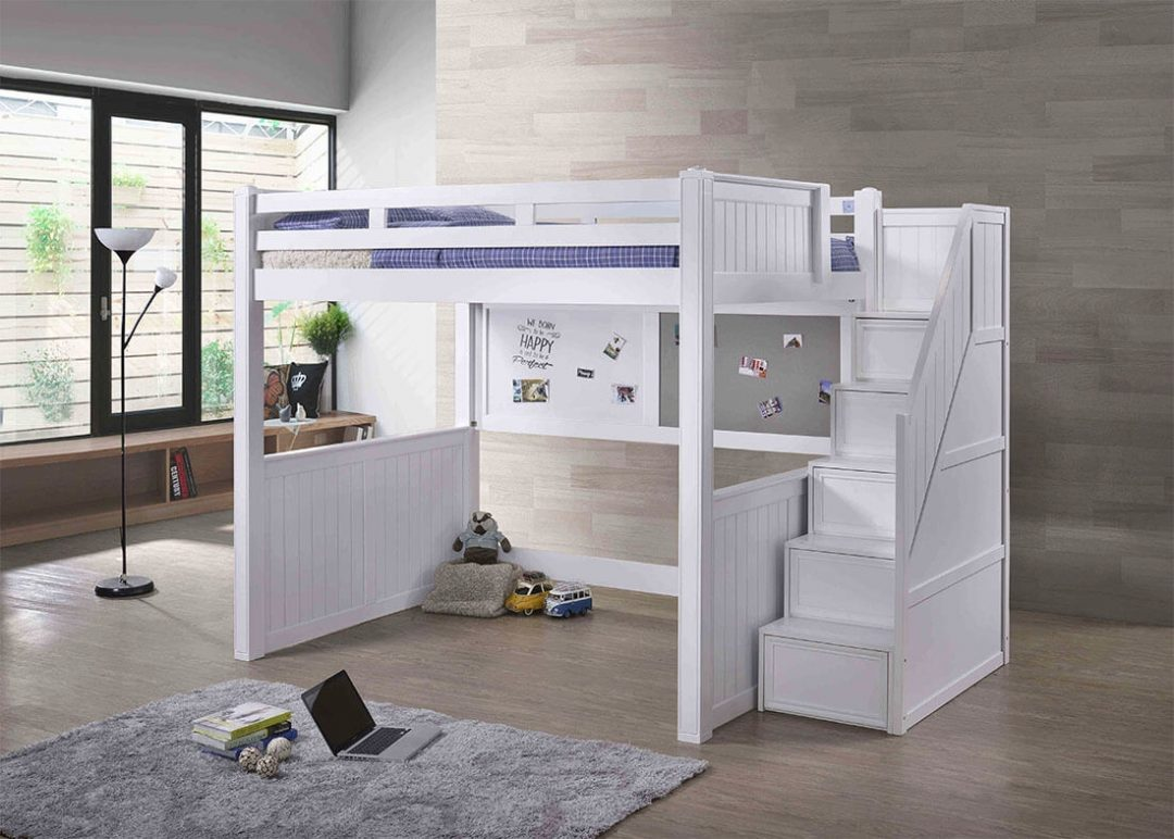 white full loft bed with stairs