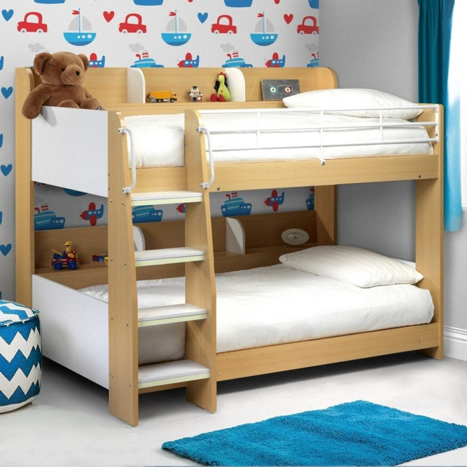 wooden and metal kids storage low bunk bed