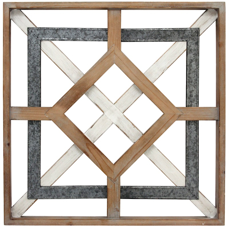 20x20 metal wood square medallion wall art at home
