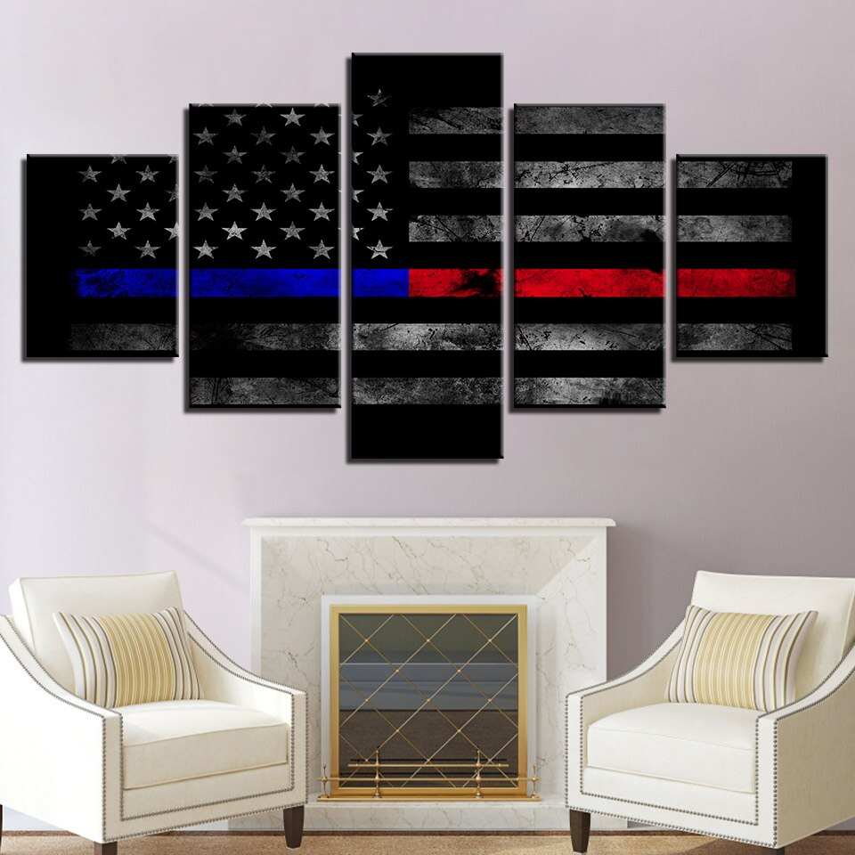 5 piece hd print thin red blue line american flag painting