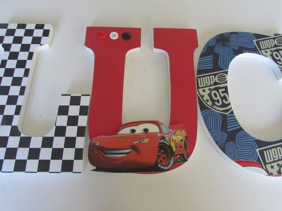 9 inches disney cars name wood letters personalized