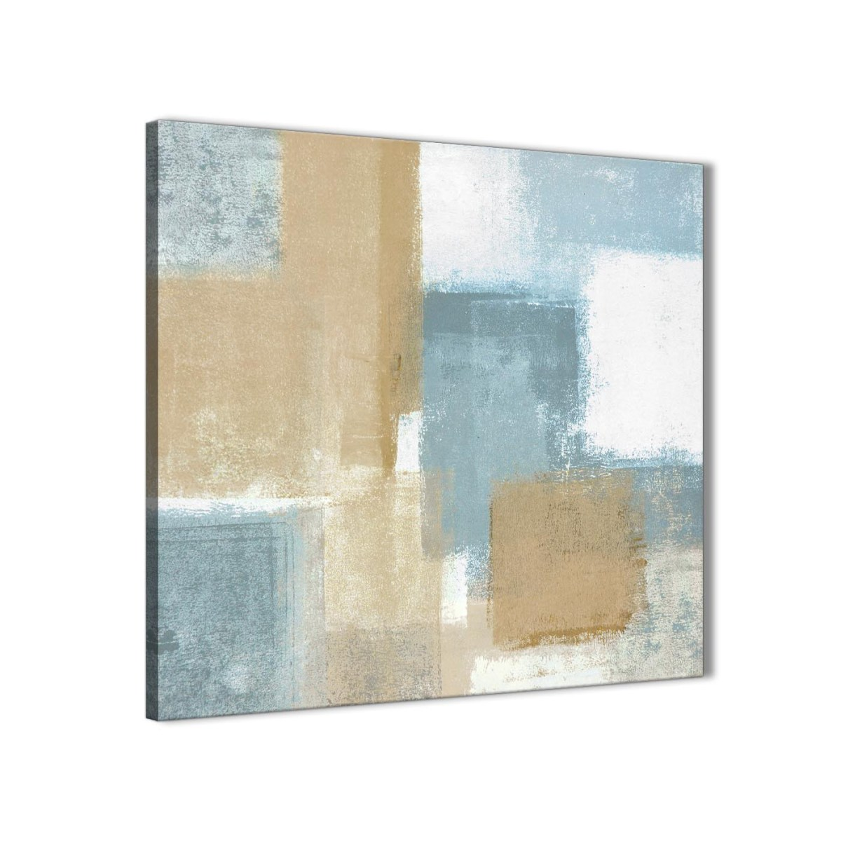 blue beige brown abstract painting canvas wall art print