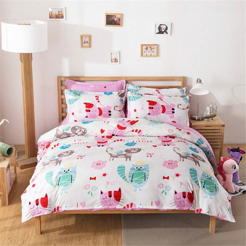 cat bedding set colored printed comforter cover cartoon