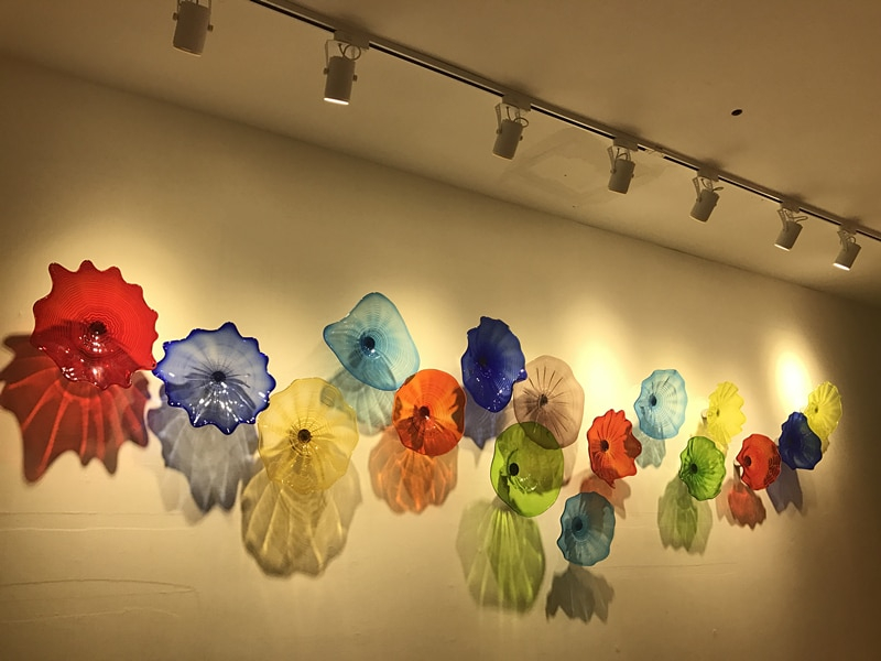 chihuly wall art hanging plates with spot light 100 hand