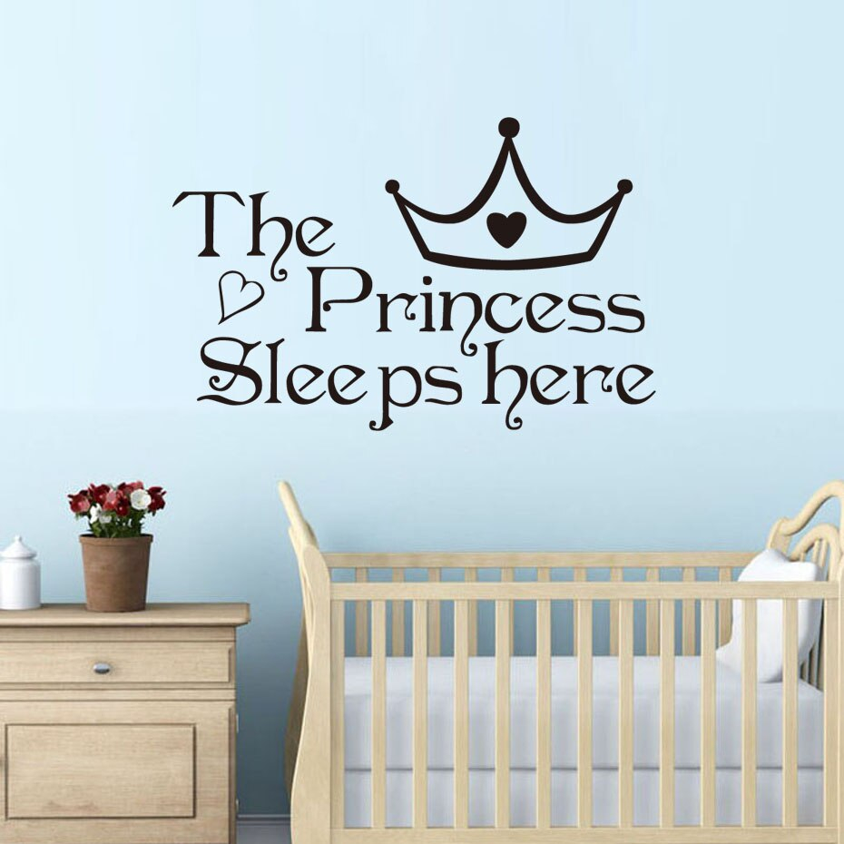 dctop the princess sleep here wall stickers for children