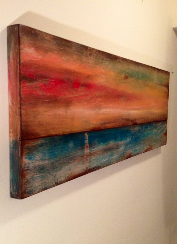 distressed wood boards sunset teal abstractnautical art