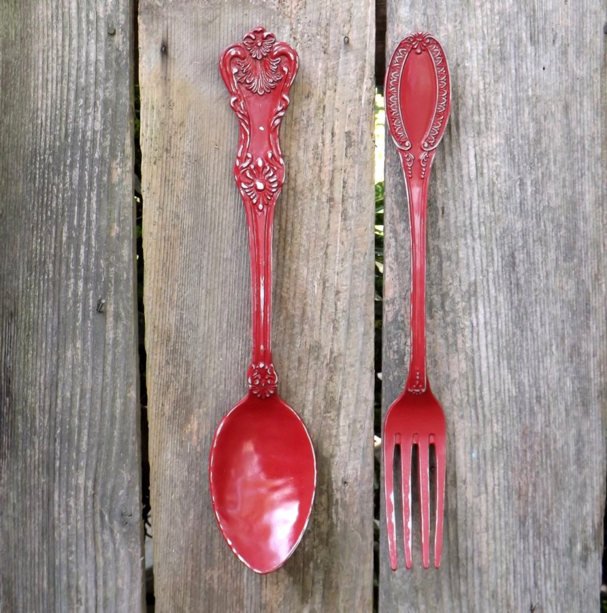 ex large fork and spoon wall decor shab chic rustic