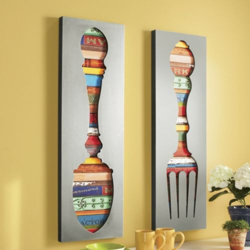 fork and spoon wall dcor kitchen decor wall art