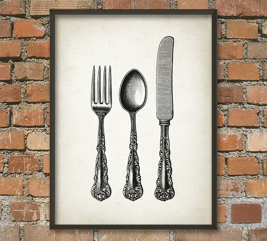 fork knife and spoon wall art poster kitchen home decor