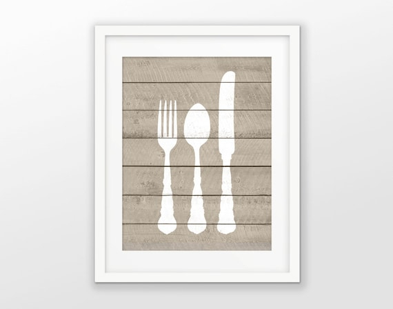 fork knife and spoon wood wall art poster rustic kitchen