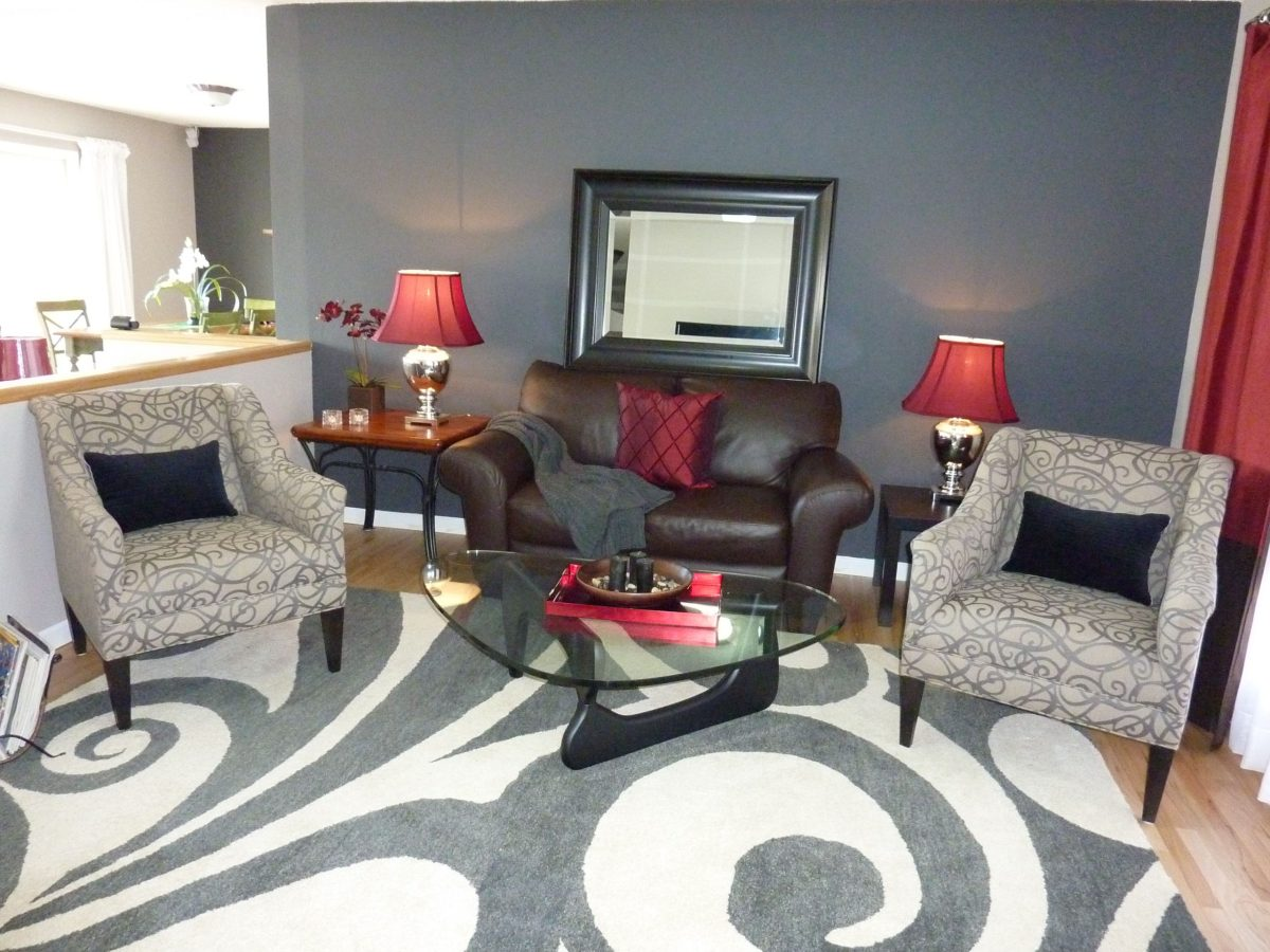 grey with red accents velvet living room furniture