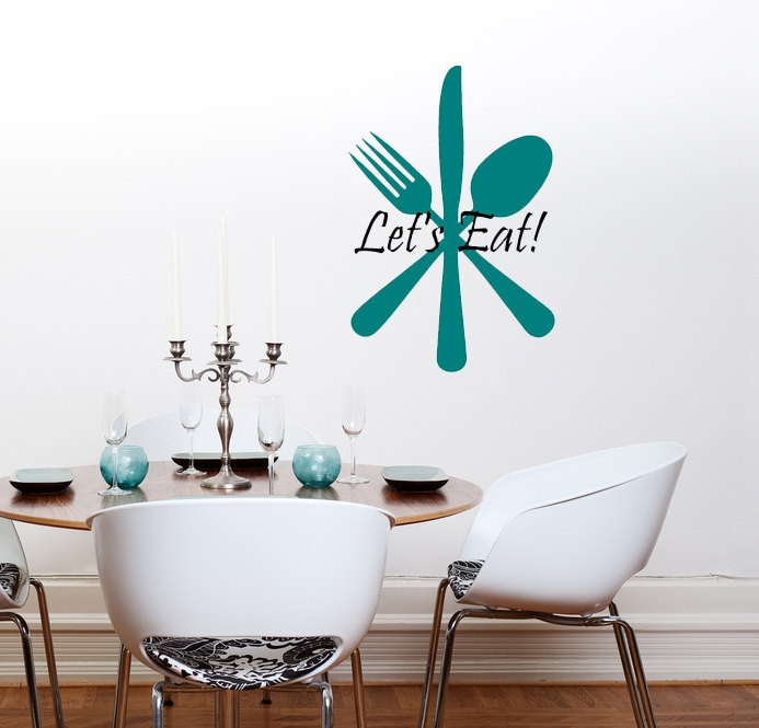 kitchen wall decal fork knife and spoon art mural quote