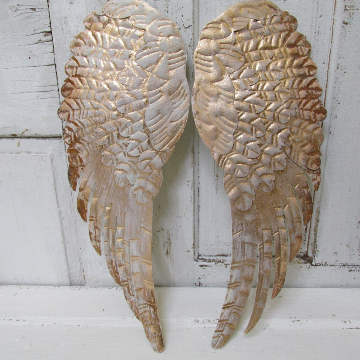 large angel wings wall decor rusty gold distressed shab chic