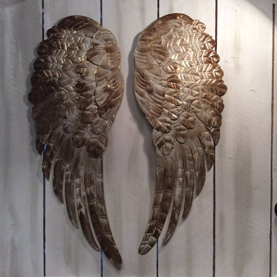 large metal angel wings wall decor distressed