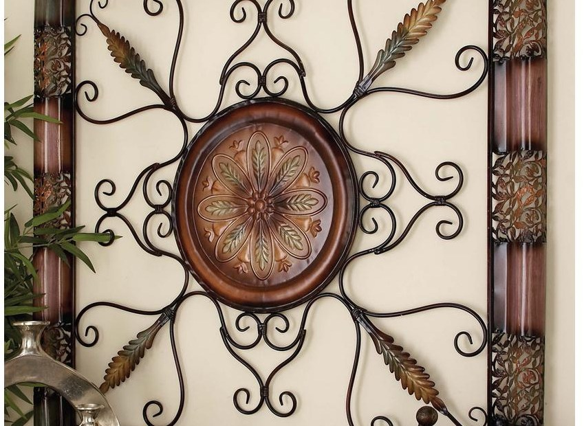 large square old world metal wall art sculpture scrollwork