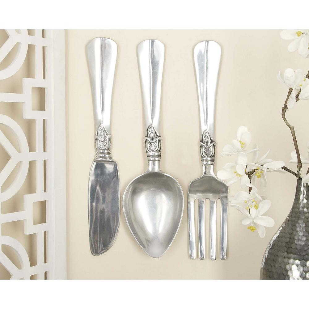 litton lane aluminum silver fork knife and spoon wall