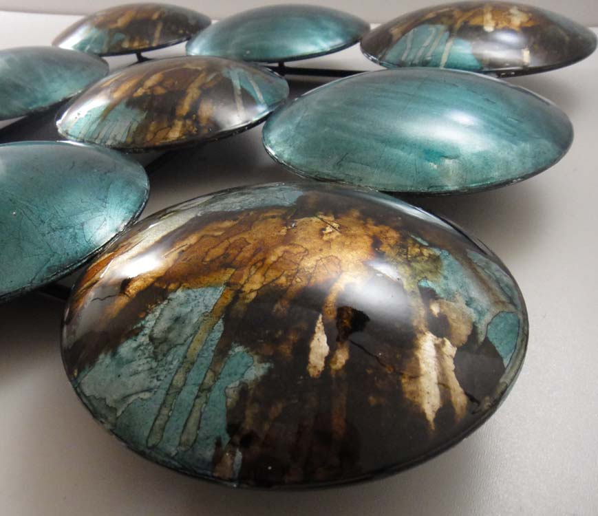new contemporary metal wall art decor or sculpture teal