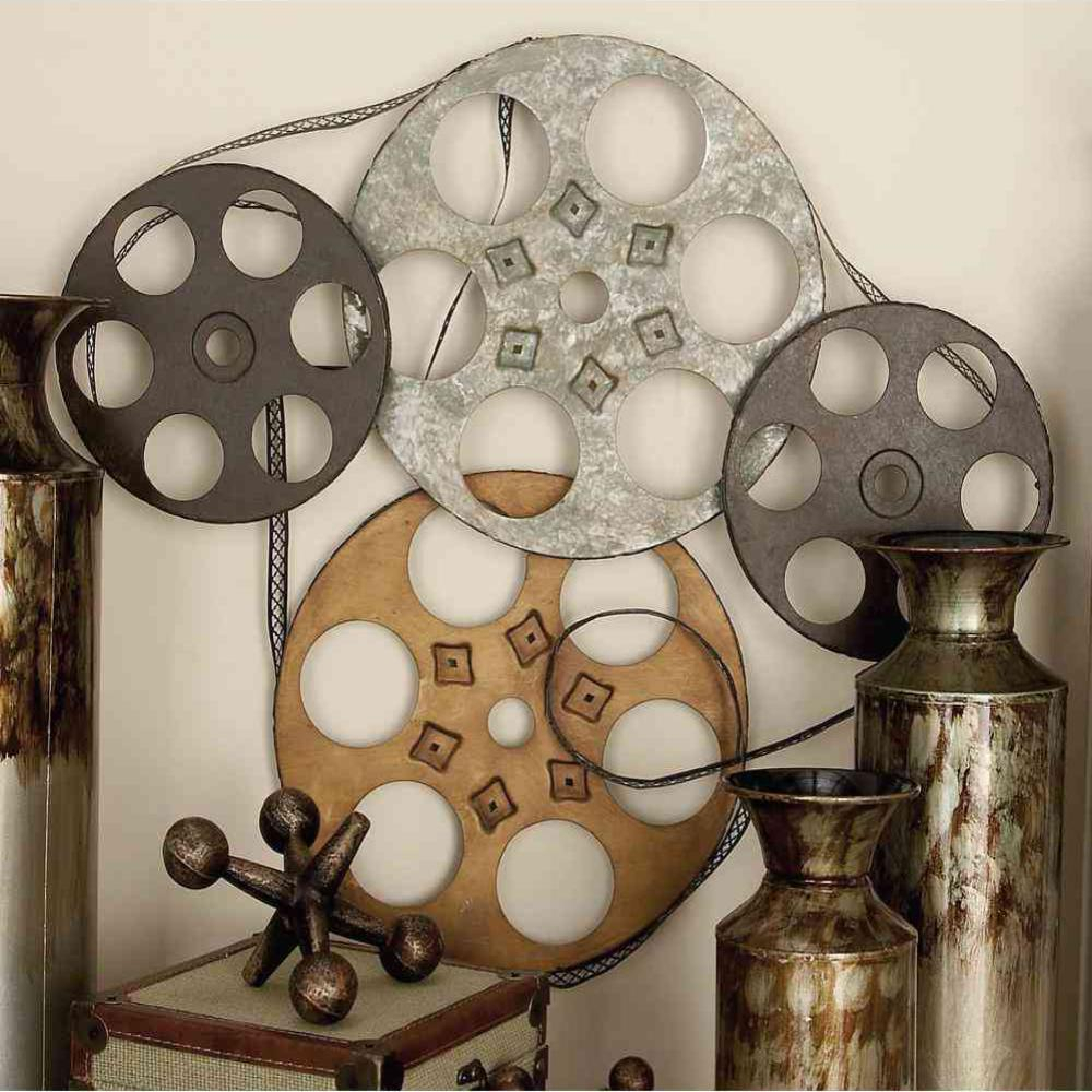 old time movie reel retro wall art sculpture galvanized