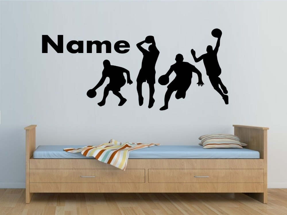 personalised basketball players wall sticker boys bedroom