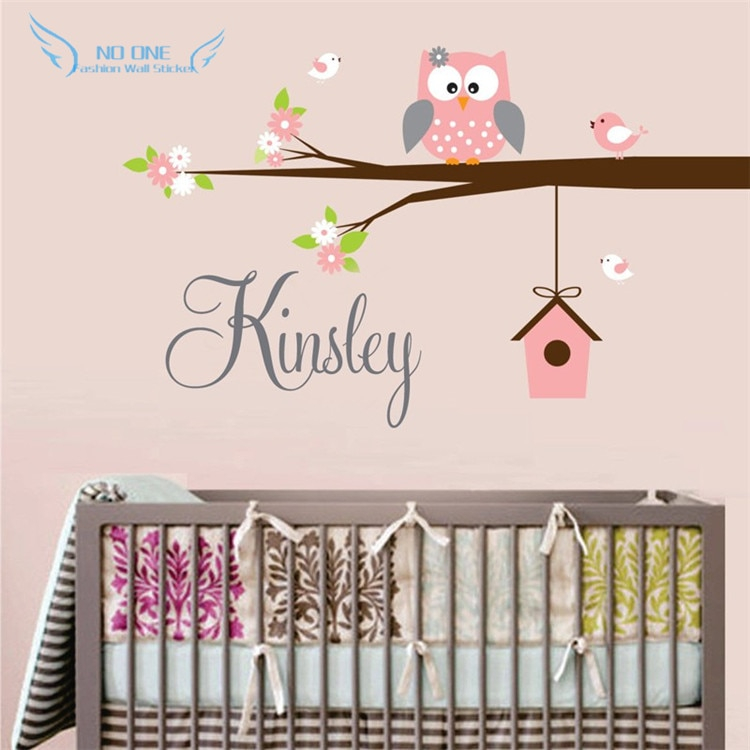 personalized name owl wall decal with birds birdhouse